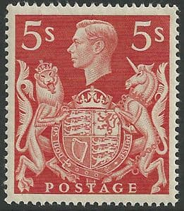 SG477 5/- Red Unmounted Mint (George VI 1939 High Values)