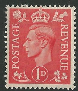 SG486 1d Pale Scarlet Unmounted Mint (George VI 1941 Definitive Stamps)