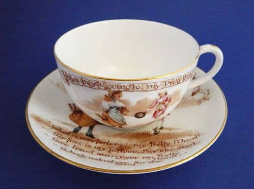 Antique Royal Doulton Nursery Rhymes 'A' Cup and Saucer by Savage Cooper c1908