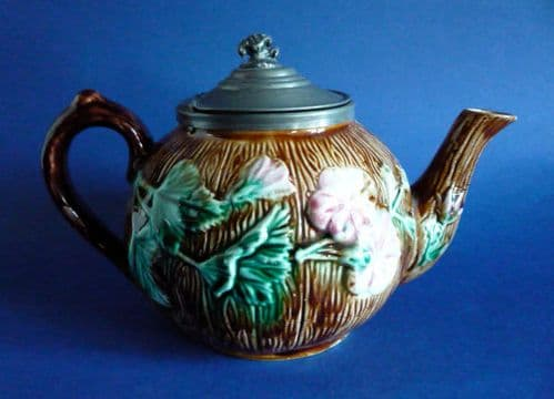 Antique Victorian Floral Majolica Teapot with Pewter Lid c1880
