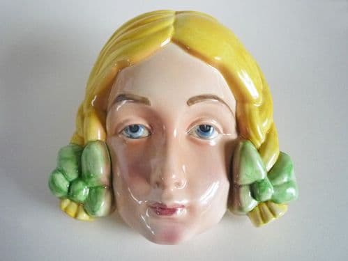 Beswick 'Girl with Plaits' Wall Mask Model #393 c1936