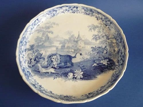 Blue and White Pearlware 'Lion Hunt' Cheese Stand c1830