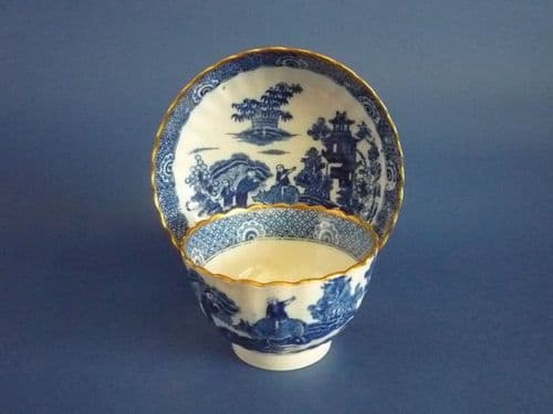 Blue Transfer Spode 'Boy on a Buffalo' Fluted Pearlware Teabowl and Saucer c1810