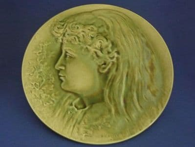 Burmantofts Faience Green Wall Plaque 'Girl's Head in Profile' by Pierre Mallet c1895