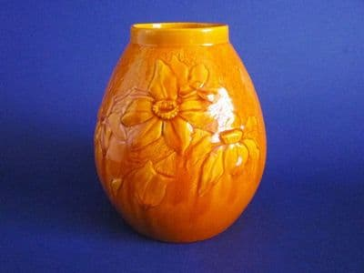 Burmantofts Yellow Faience 'Clematis' Vase c1885