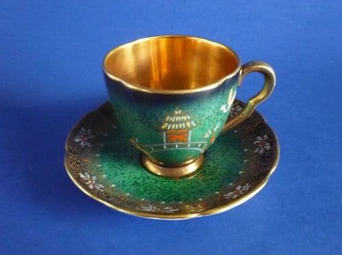 Carlton Ware 'New Mikado' Vert Royale Coffee Cup and Saucer c1950