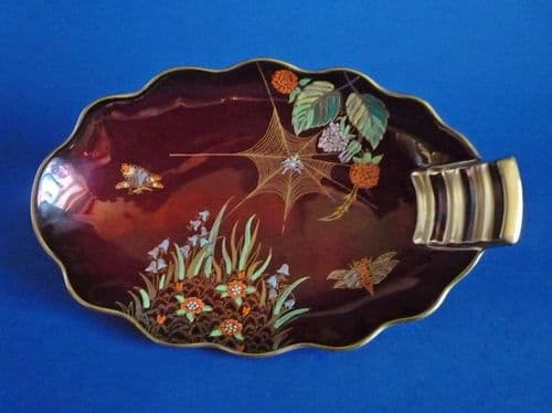 Carlton Ware 'Spider's Web' Rouge Royale Oval Tray c1950