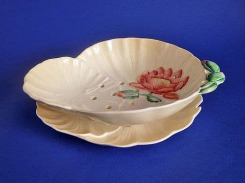 Carlton Ware Water Lily Cress Drainer Dish - Yellow with Pink Flower c1939