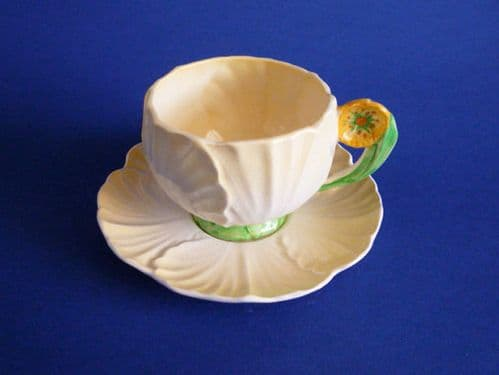 Carlton Ware Yellow 'Buttercup' Cup and Saucer c1938