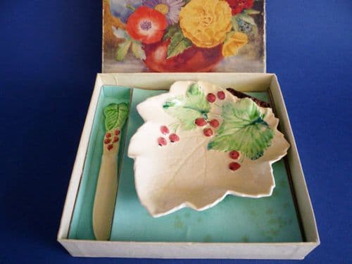 Carlton Ware Yellow 'Red Currant' Butter Dish and Knife with Original Box c1938