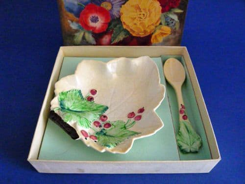 Carlton Ware Yellow 'Red Currant' Jam Dish and Spoon with Original Box c1938