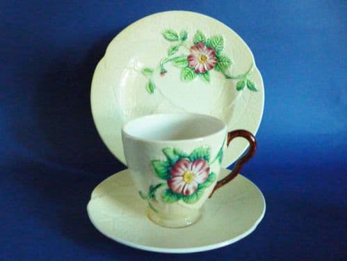 Carlton Ware Yellow 'Wild Rose' Cup, Saucer and Plate (Trio) c1939 #1