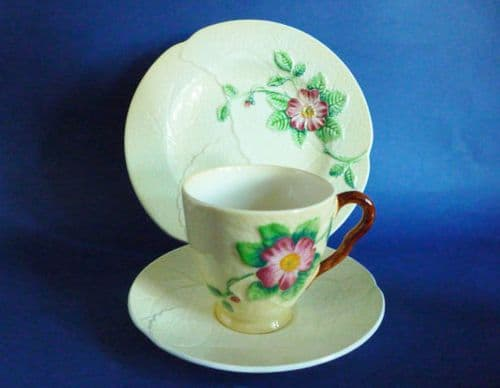 Carlton Ware Yellow 'Wild Rose' Cup, Saucer and Plate (Trio) c1939 #2