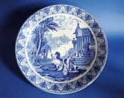 Cauldon Blue and White 'Triumphal Chariot' Large Cake Plate c1910
