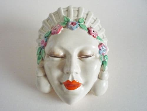 Clarice Cliff 'Marlene' Wall Pocket Face Mask c1936 (Sold)