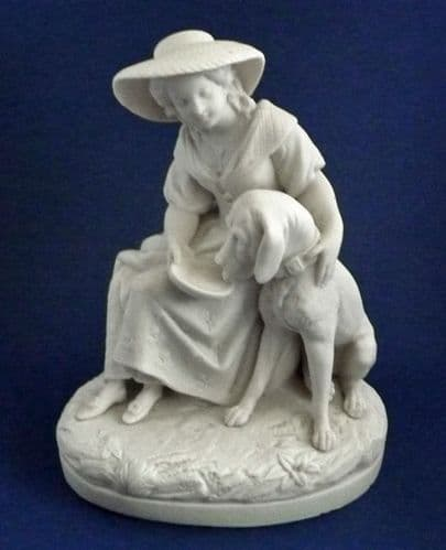 Copeland Parian Ware Figure 'Girl with Bloodhound' c1870