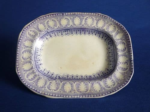 Davenport Mauve Printed Miniature Doll's Toy Meat Plate c1865