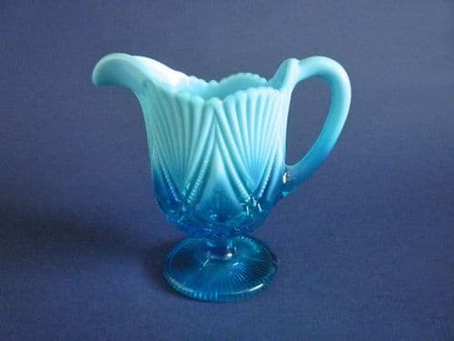 Davidson's Blue Pearline Glass 'Victoria and Albert' Footed Jug c1897