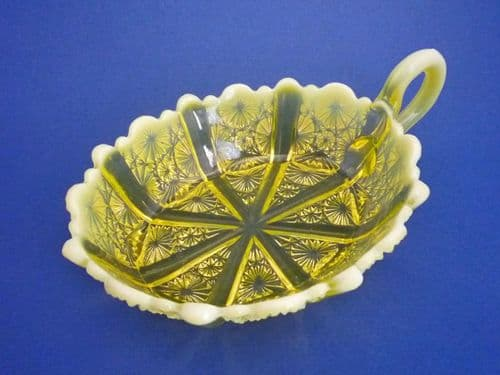 Davidson's Yellow Pearline Glass 'Lady Chippendale' Nappy or Serving Dish c1885