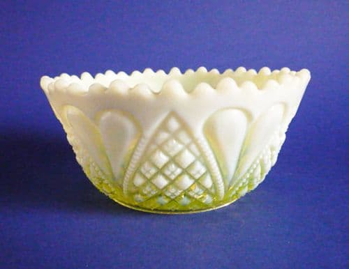 Davidson's Yellow Pearline 'William and Mary' Glass Sugar Bowl c1905