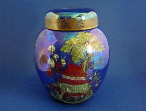 Early Carlton Ware Wiltshaw and Robinson Blue 'Pagoda' Lustre Ginger Jar c1920