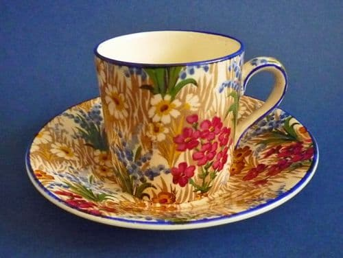 Early Grimwades Royal Winton 'Marguerite' Chintz Coffee Can and Saucer c1930 (Blue Trim)
