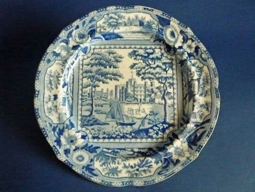 Early John and William Ridgway 'Angus Seats' Series Dinner Plate c1815