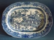 Early Pearlware Blue Transfer 'Chinese Flag Bearers' Platter c1810