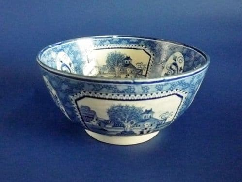 Early Pearlware Chinoiserie Pattern Bowl c1810