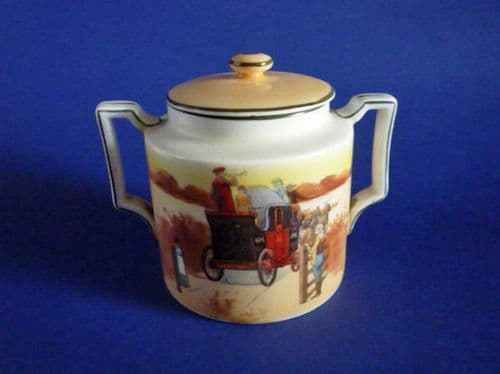 Early Royal Doulton 'Coaching Days' Sucrier Covered Sugar E3804 by Victor Venner c1905