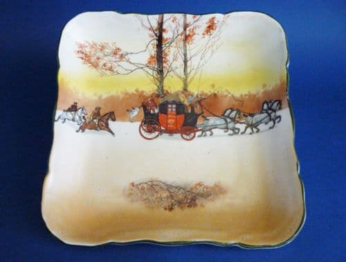Early Royal Doulton Series Ware 'Coaching Days' Large Leeds Square Dish D2716 c1910