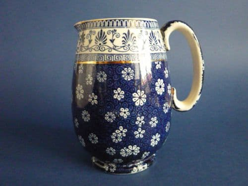 Early Shelley Pottery 'Cloisello Ware - Daisy' Blue and White Jug c1915