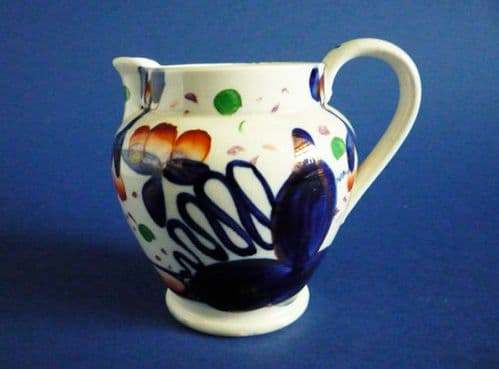 Early Victorian Gaudy Welsh 'Oyster' Pattern Pottery Jug c1840