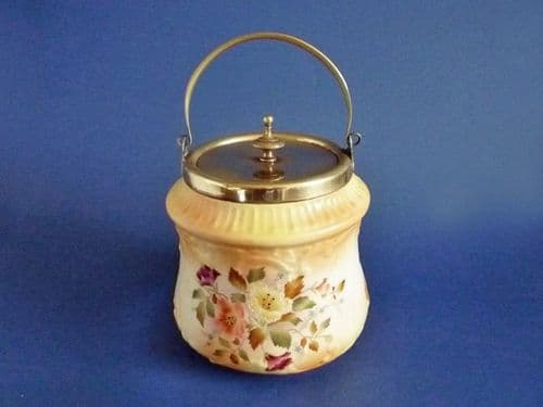 Early Wiltshaw and Robinson Carlton Ware Blush 'Hibiscus' Biscuit Barrel c1895