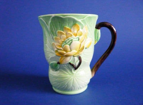 Fine 1930s Carlton Ware Cocoa Mug - Green with Yellow Water Lily #2