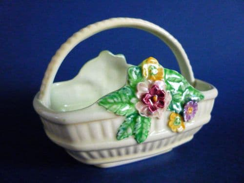Fine Carlton Ware Yellow Sussex Trug Style 'Flowers and Basket' Posy Holder c1939