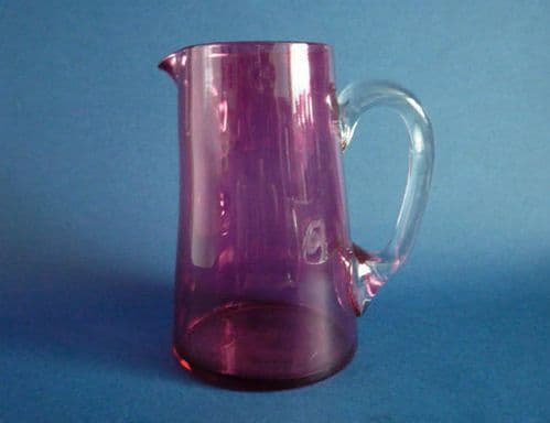 Fine Victorian Straight Sided Antique Cranberry Glass Jug c1890