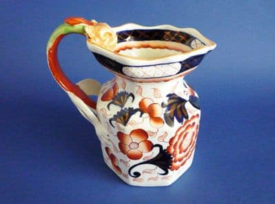 Gaudy Welsh 'Bethesda' Octagonal Ironstone Jug with Dragon Handle c1830