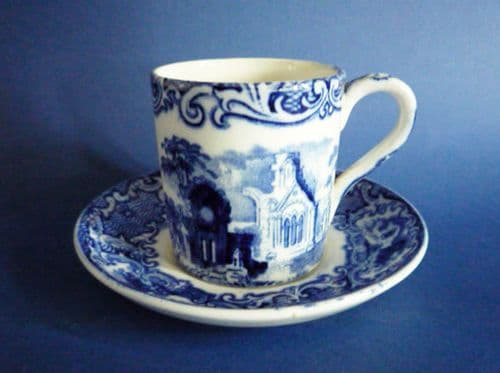 George Jones Blue and White 'Abbey' Ware Coffee Can and Saucer c1925
