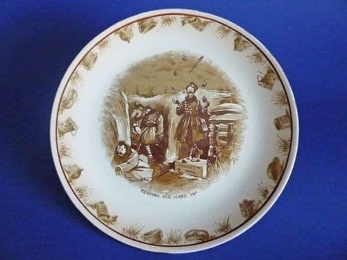 Grimwade's Bruce Bairnsfather Ware Old Bill - 'Keeping His Hand In' Large Plate c1920