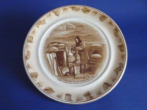 Grimwade's WW1 Bairnsfather Ware Old Bill - 'Coiffure in the Trenches' Large Wall Plaque c1919