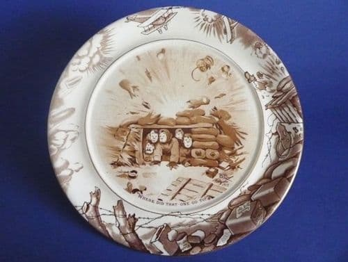 Grimwade's WW1 Bruce Bairnsfather Ware Old Bill 'Where Did That One Go To?' Plaque c1920