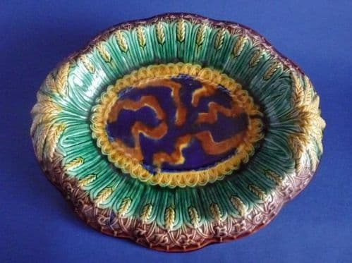 Holdcroft Majolica Wheat and Basket Weave 'Eat thy Bread With Thankfulness' Bread Platter c1880