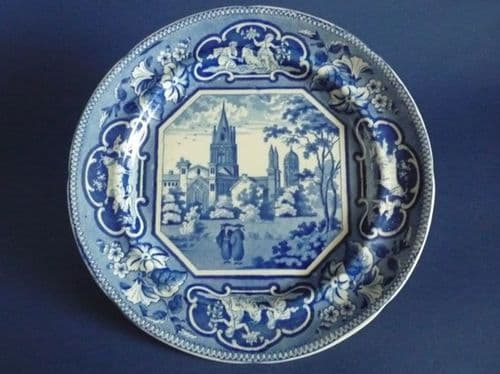 John and William Ridgway 'Christ Church, Oxford' Opaque China Dinner Plate c1820