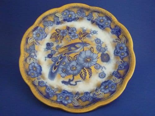Keeling and Co 'Pekin' Losol Ware Flow Blue and Gilt Plate #2 c1915
