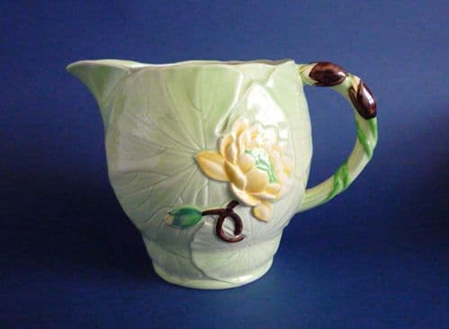 Large 1930s Carlton Ware Jug - Green with Yellow Water Lily