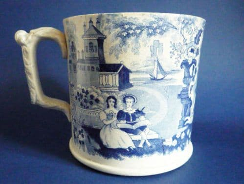 Large 2 Pint 'Royal Coat of Arms' Staffordshire Pottery Tankard c1840