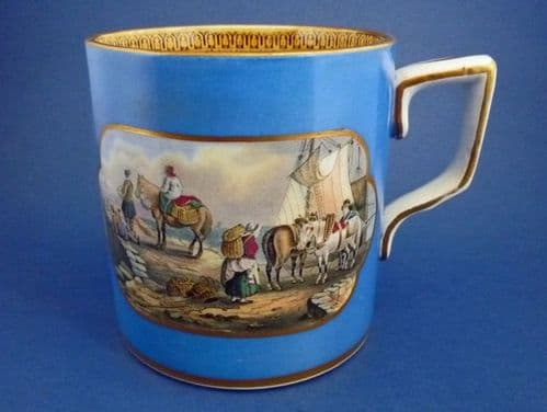 Large Blue Prattware Mug 'The Stone Jetty' and 'The Travellers' Departure'  c1860