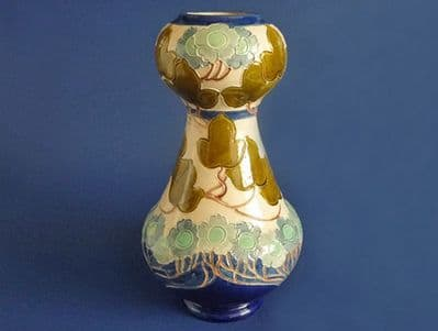 Large Burmantofts Faience 'Ivy and Blue Flower' Art Nouveau Vase c1900