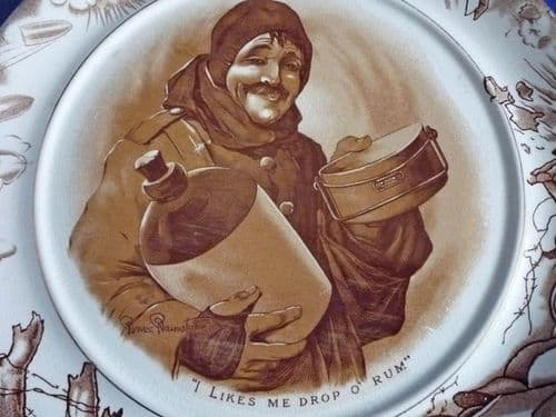 Large Grimwade's WW1 Bruce Bairnsfather Ware Old Bill 'I Likes Me Drop O Rum' Plaque c1920